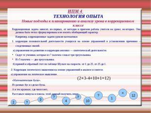 ИПМ 4 ТЕХНОЛОГИЯ ОПЫТА Новые подходы к планированию и анализу урока в коррекц