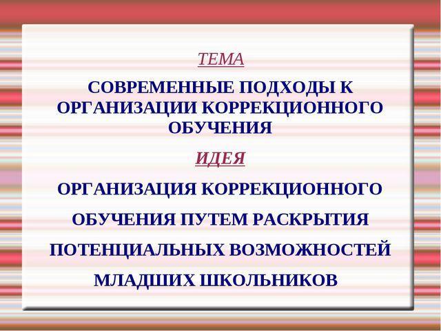 ТЕМА СОВРЕМЕННЫЕ ПОДХОДЫ К ОРГАНИЗАЦИИ КОРРЕКЦИОННОГО ОБУЧЕНИЯ ИДЕЯ ОРГАНИЗАЦ...