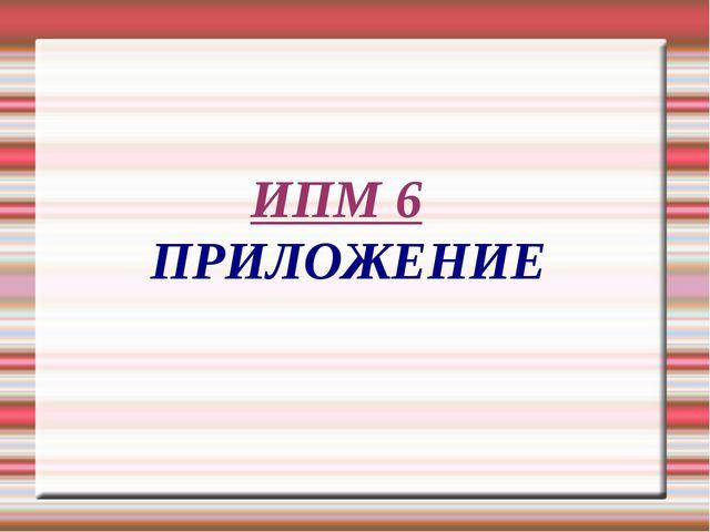 ИПМ 6 ПРИЛОЖЕНИЕ