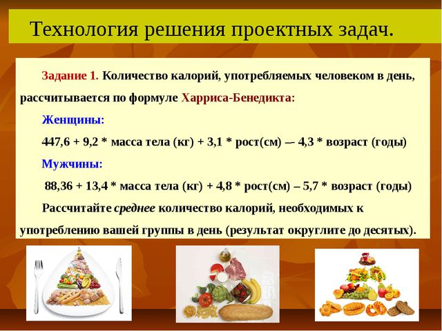 Технология решения проектных задач. Задание 1.Количество калорий, употребля...
