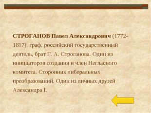 СТРОГАНОВ Павел Александрович (1772-1817), граф, российский государственный д