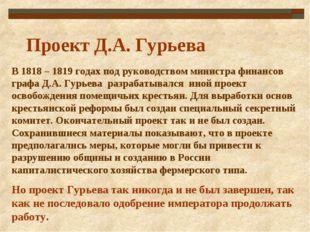 В 1818 – 1819 годах под руководством министра финансов графа Д.А. Гурьева раз