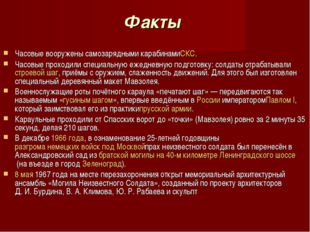 Факты Часовые вооружены самозарядными карабинамиСКС. Часовые проходили специа
