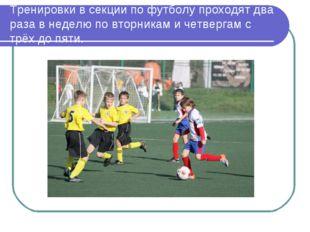 Тренировки в секции по футболу проходят два раза в неделю по вторникам и четв