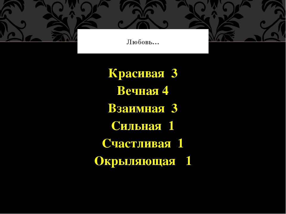 Красивая 3 Вечная 4 Взаимная 3 Сильная 1 Счастливая 1 Окрыляющая 1 Любовь…