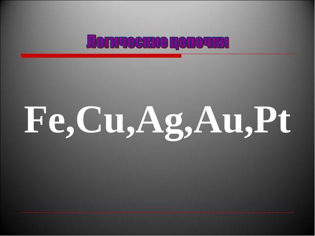 Fe,Сu,Ag,Au,Pt