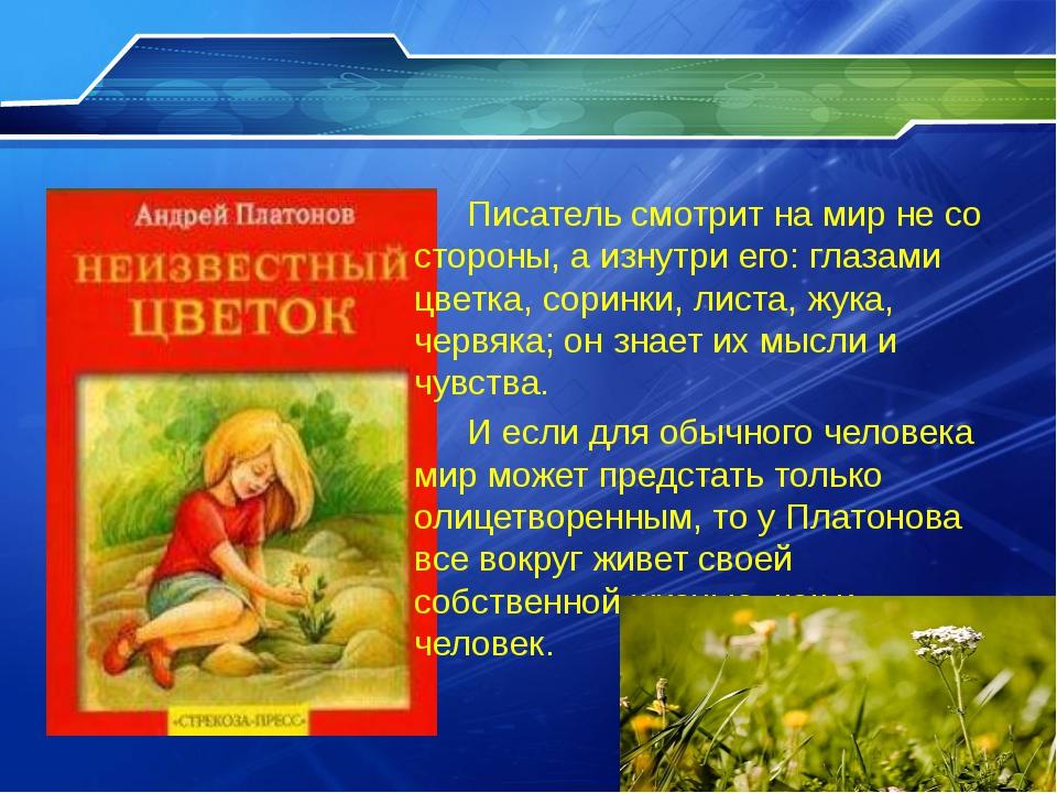 Писатель смотрит на мир не со стороны, а изнутри его: глазами цветка, сорин...