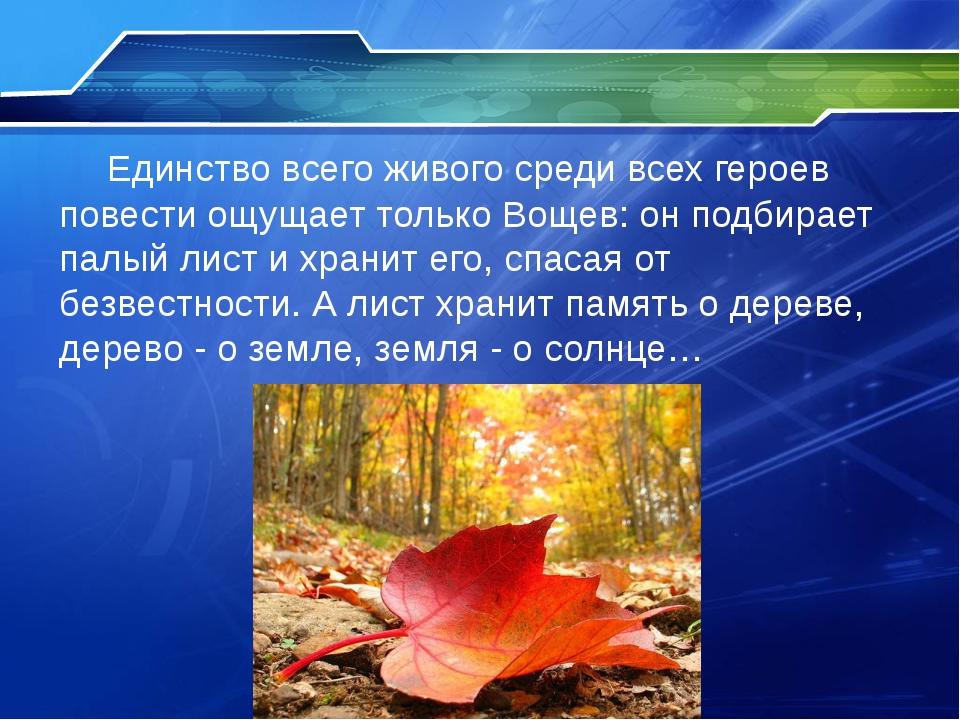 Единство всего живого среди всех героев повести ощущает только Вощев: он под...