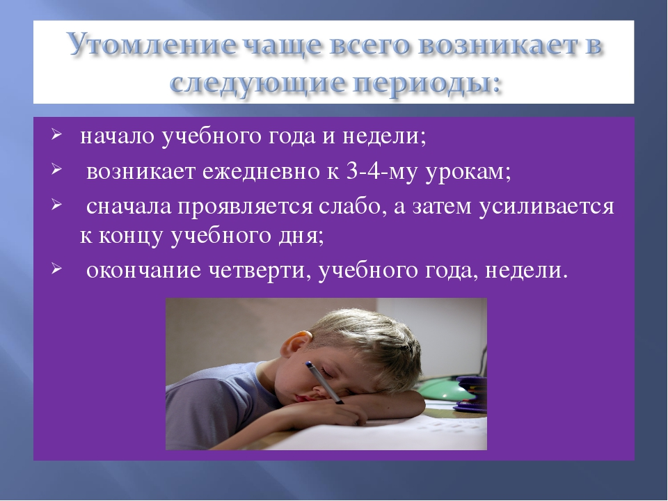 начало учебного года и недели; возникает ежедневно к 3-4-му урокам; сначала п...