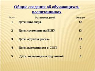 Общие сведения об обучающихся, воспитанниках № п/пКатегория детейКол-во 1Д