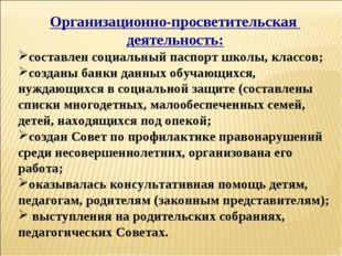 Организационно-просветительская деятельность: составлен социальный паспорт шк