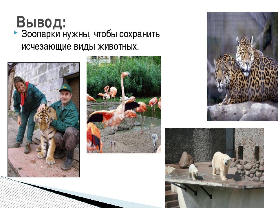 Зоопарки нужны, чтобы сохранить исчезающие виды животных. Вывод: