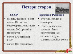 Потери сторон СССР 85 тыс. человек (в том числе 18 тыс. — безвозвратные потер