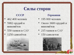 Силы сторон СССР 462 400 человек 5982 орудий и миномётов 559 танков и САУ 125