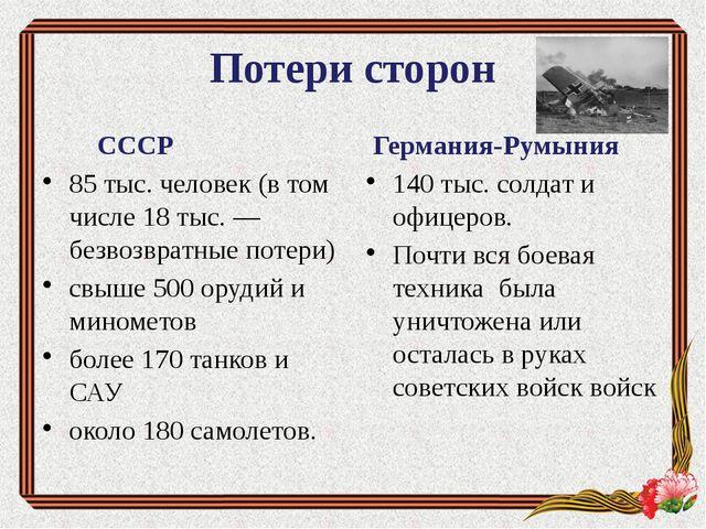 Потери сторон СССР 85 тыс. человек (в том числе 18 тыс. — безвозвратные потер...