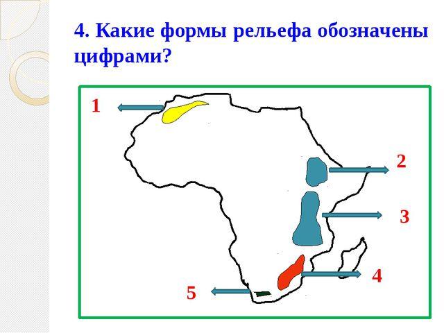 4. Какие формы рельефа обозначены цифрами? 1 2 3 4 5