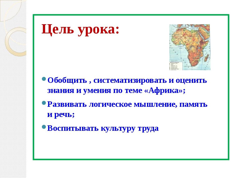 Цель урока: Обобщить , систематизировать и оценить знания и умения по теме «А...