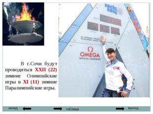 назад выход таблица В г.Сочи будут проводиться XXII (22) зимние Олимпийские и