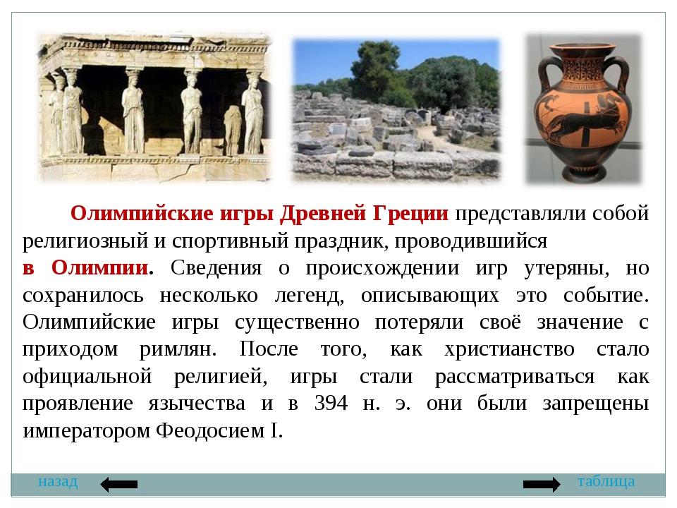 назад таблица Олимпийские игры Древней Греции представляли собой религиозный...