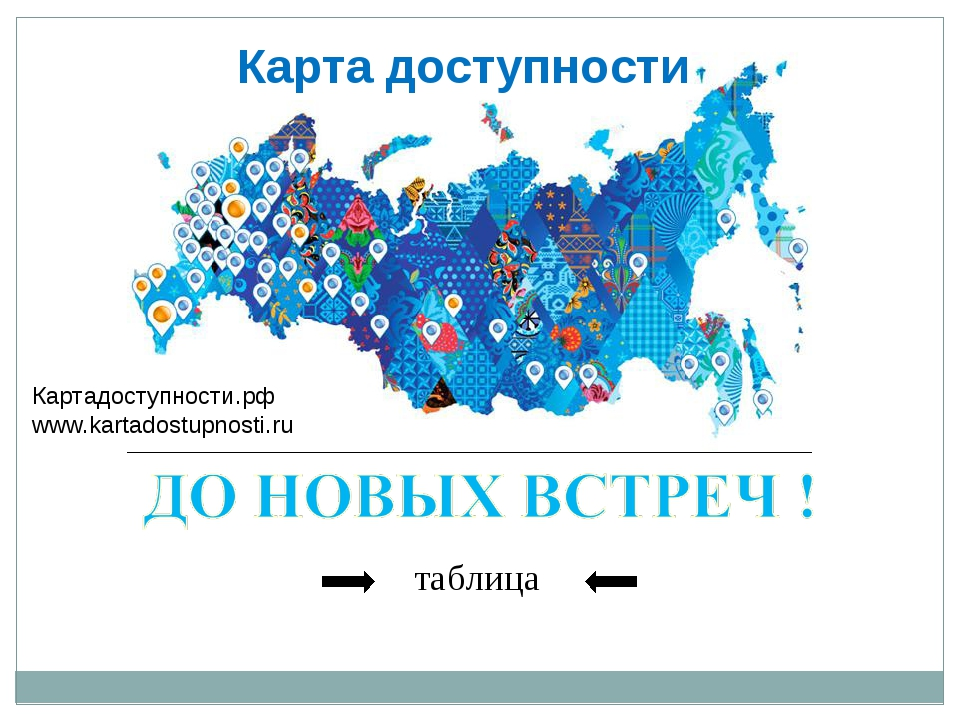 таблица Картадоступности.рф www.kartadostupnosti.ru Карта доступности