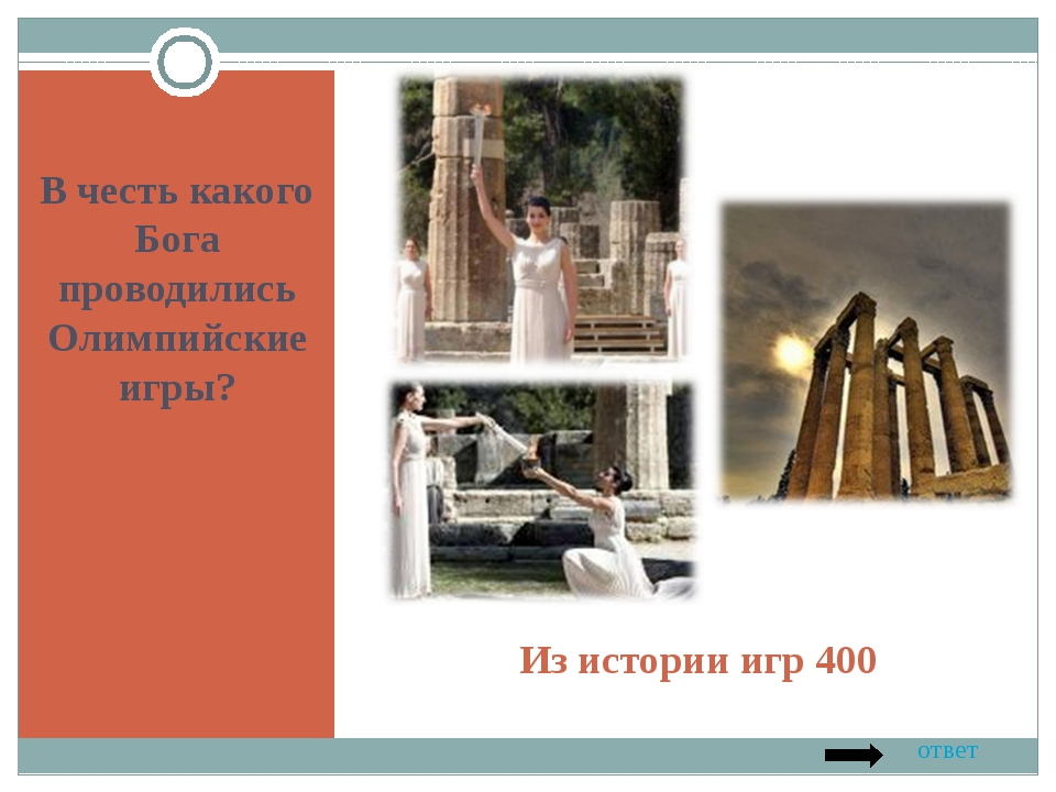 Из истории игр 400 В честь какого Бога проводились Олимпийские игры? ответ