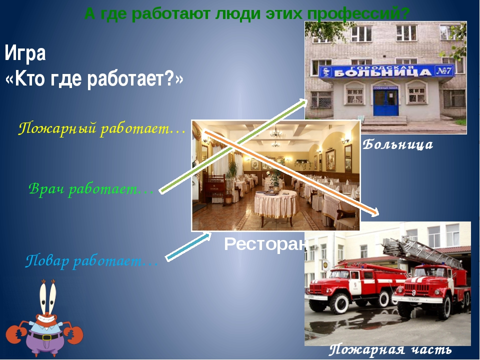 Больница Пожарная часть Игра «Кто где работает?» Пожарный работает… Врач рабо...