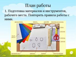 План работы 1. Подготовка материалов и инструментов, рабочего места. Повторит