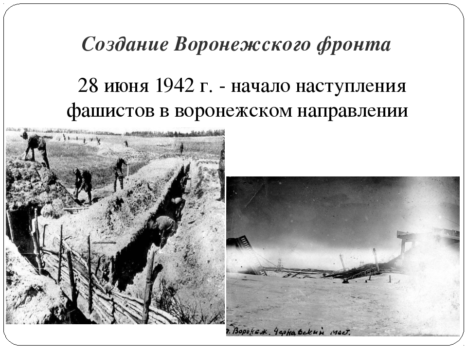Создание Воронежского фронта 28 июня 1942 г. - начало наступления фашистов в...