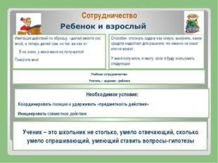 Сотрудничество Учебное сотрудничество: Учитель – задание - ребенок Имитация д