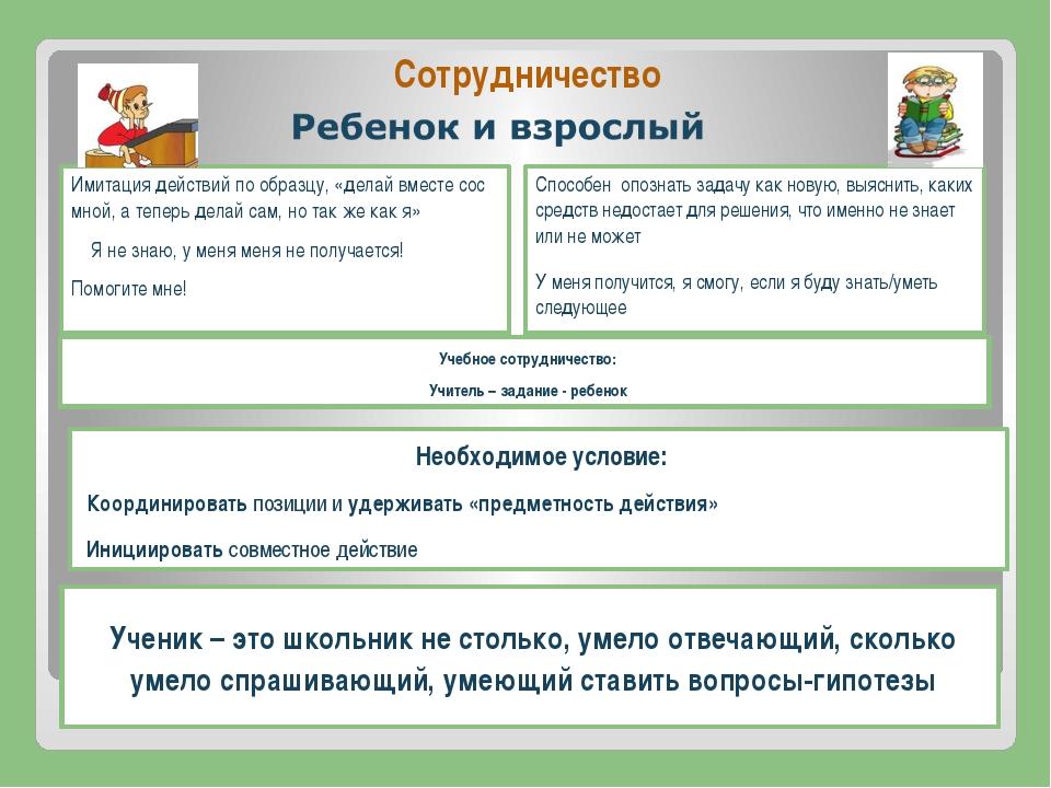 Сотрудничество Учебное сотрудничество: Учитель – задание - ребенок Имитация д...