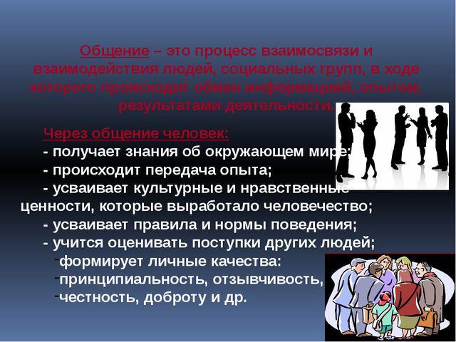 Общение – это процесс взаимосвязи и взаимодействия людей, социальных групп, в...