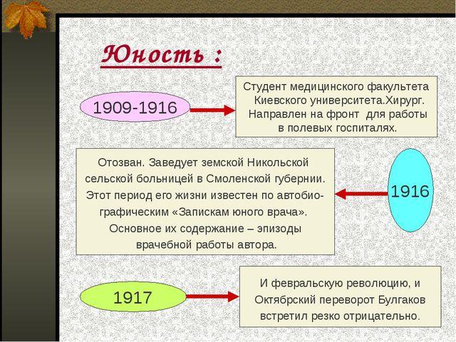 Юность : 1909-1916 Студент медицинского факультета Киевского университета.Хи...