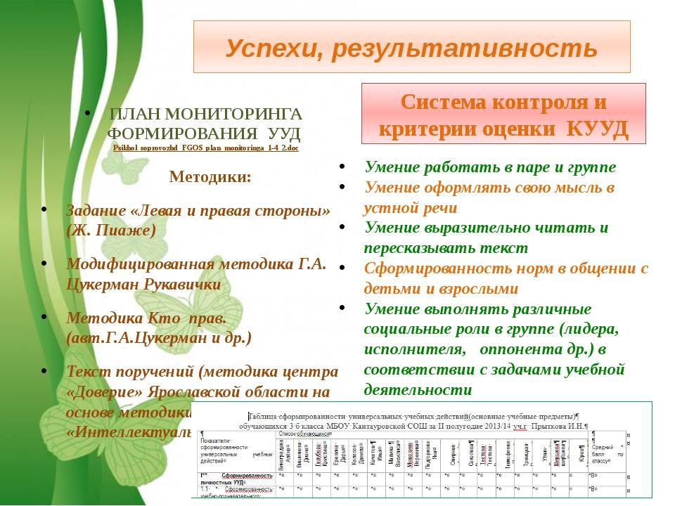 Успехи, результативность ПЛАН МОНИТОРИНГА ФОРМИРОВАНИЯ УУД Psikhol_soprovozhd...
