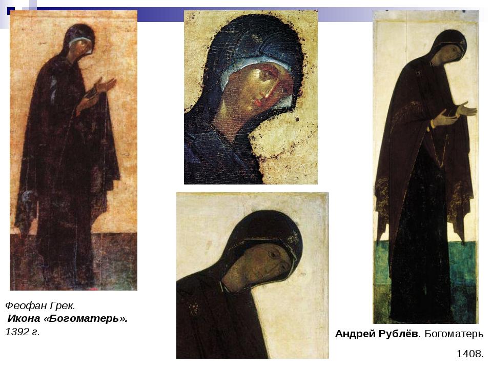 Феофан Грек. Икона «Богоматерь». 1392 г. Андрей Рублёв. Богоматерь 1408.