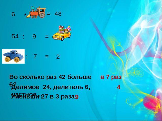 6 8 * = 48 54 : 9 = 6 14 : 7 = 2 Во сколько раз 42 больше 6? в 7 раз Делимое...