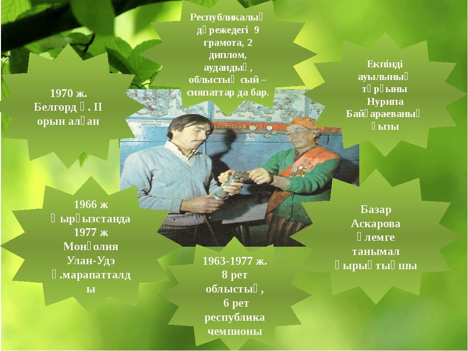 Екпінді ауылының тұрғыны Нурипа Байғараеваның қызы Базар Аскарова әлемге таны...