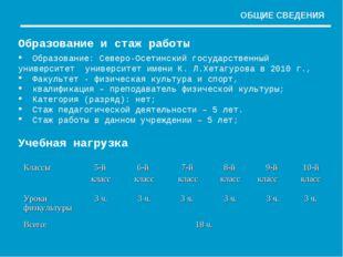 Образование и стаж работы Образование: Северо-Осетинский государственный унив