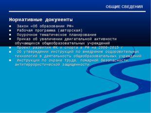 Нормативные документы Закон «Об образовании РФ» Рабочая программа (авторская)
