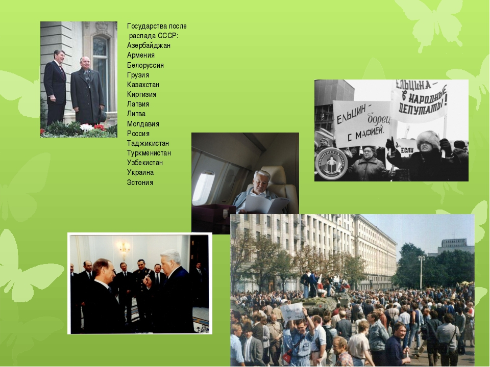 Государства после распада СССР: Азербайджан Армения Белоруссия Грузия К...