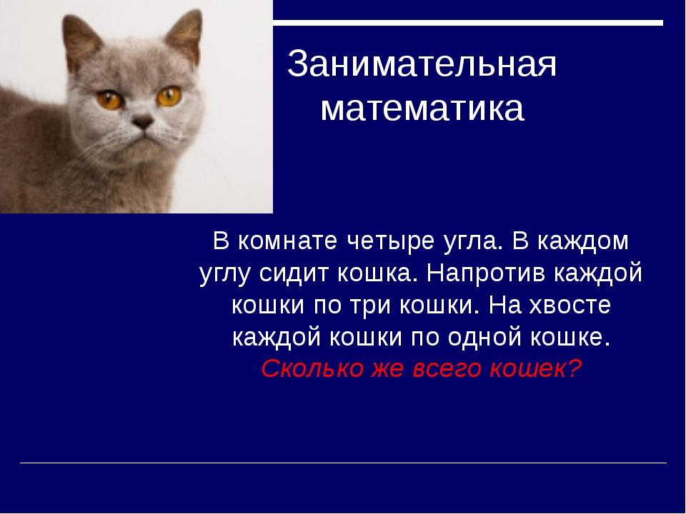 Занимательная математика В комнате четыре угла. В каждом углу сидит кошка. На...