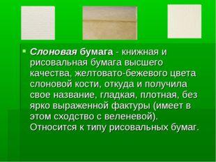 Слоновая бумага - книжная и рисовальная бумага высшего качества, желтовато-бе