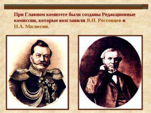 При Главном комитете были созданы Редакционные комиссии, которые возглавили Я