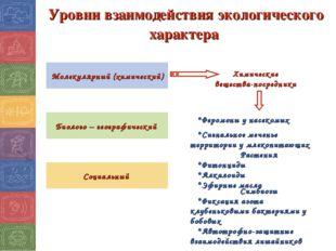 Уровни взаимодействия экологического характера Молекулярный (химический) Биол