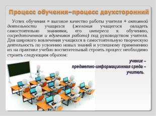 Успех обучения = высокое качество работы учителя + активной деятельности учащ