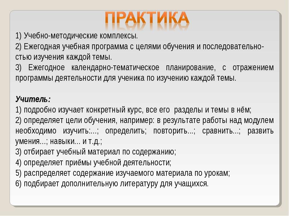 1) Учебно-методические комплексы. 2) Ежегодная учебная программа с целями обу...