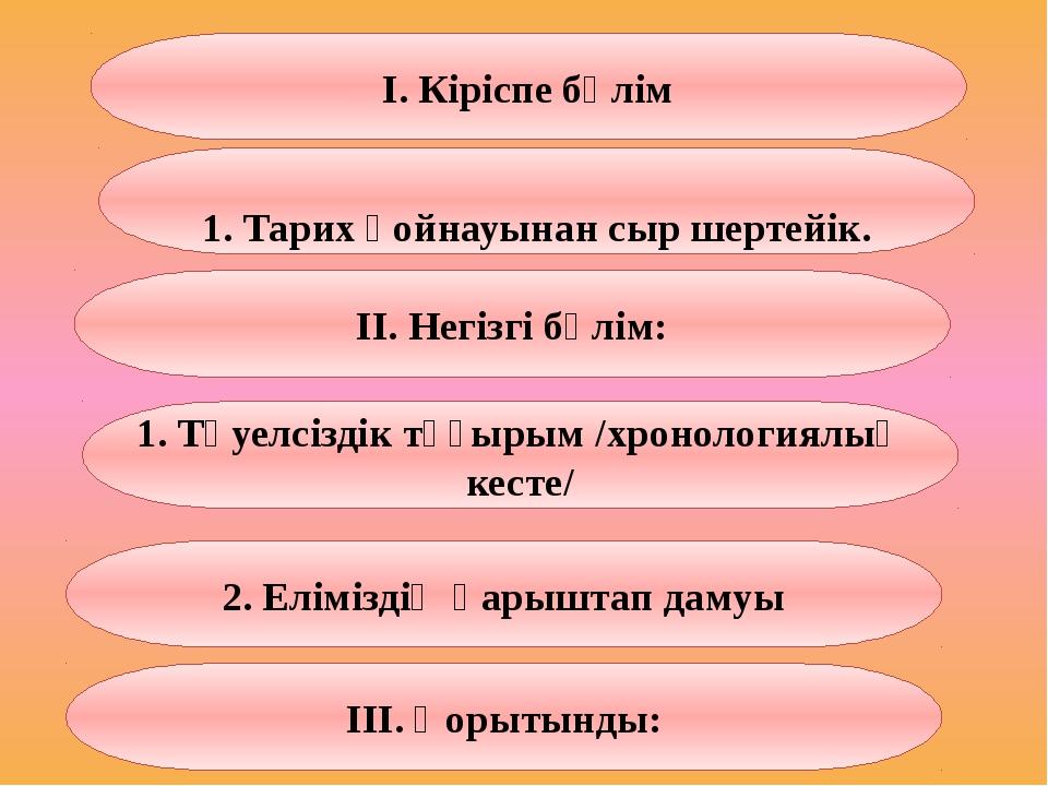 І. Кіріспе бөлім 1. Тарих қойнауынан сыр шертейік. 2. Еліміздің қарыштап дам...