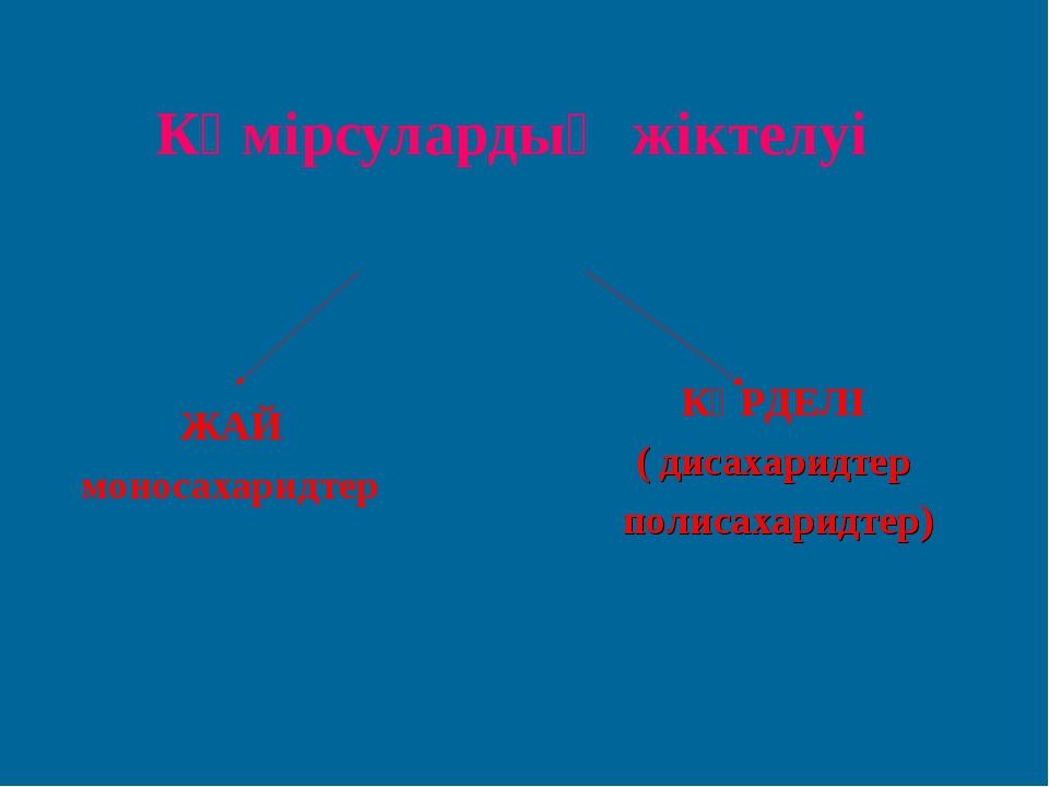 Көмірсулардың жіктелуі ЖАЙ моносахаридтер КҮРДЕЛІ ( дисахаридтер полисахаридт...