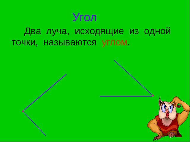 Угол Два луча, исходящие из одной точки, называются углом.