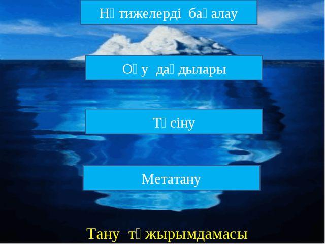 Нәтижелерді бағалау Оқу дағдылары Метатану Түсіну Тану тұжырымдамасы