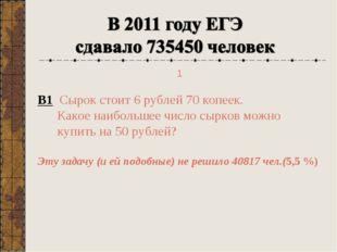 В1 Сырок стоит 6 рублей 70 копеек. Какое наибольшее число сырков можно купить